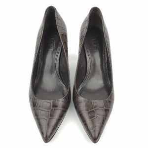 LOFT Brown Crocodile Leather Pumps 7.5 Shoes